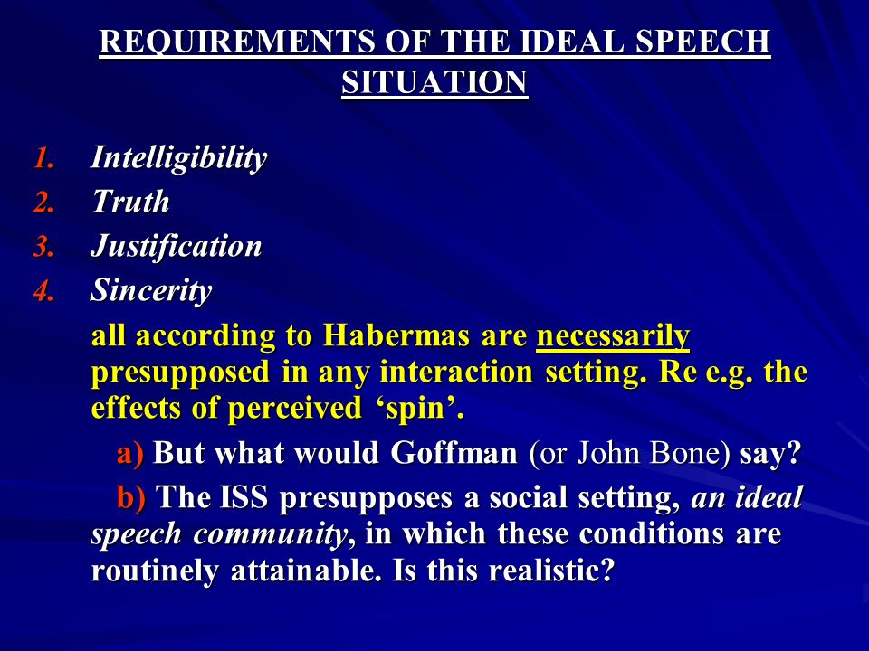 REQUIREMENTS OF THE IDEAL SPEECH SITUATION 1. Intelligibility 2. Truth 3. Justification 4. Sincerity all according to Habermas are necessarily presupp