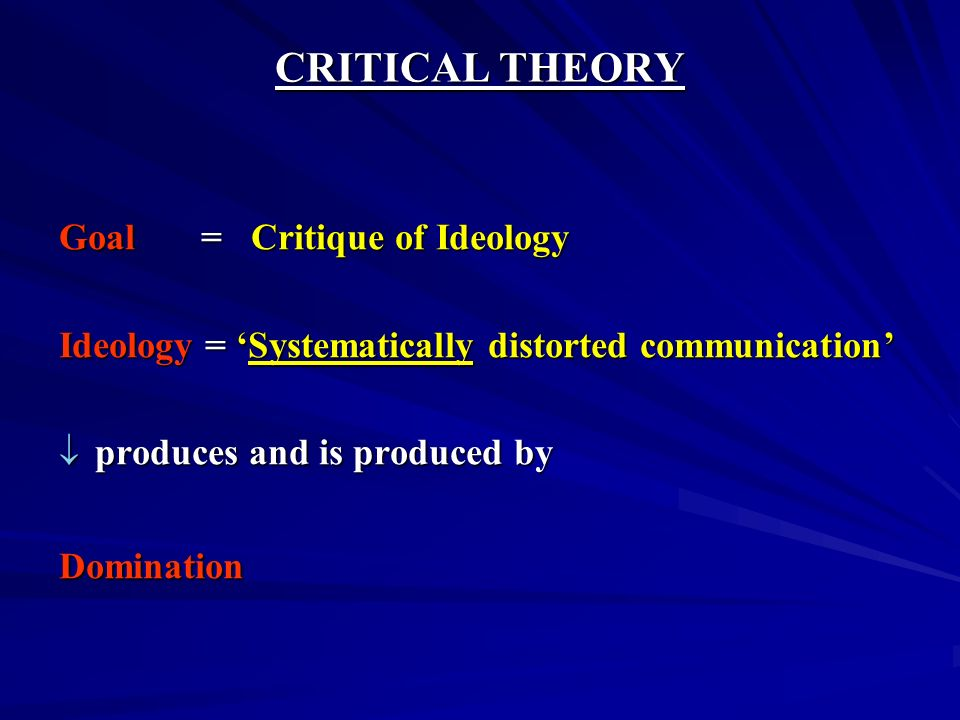 CRITICAL THEORY Goal = Critique of Ideology Ideology = Systematically distorted communication produces and is produced by produces and is produced byD