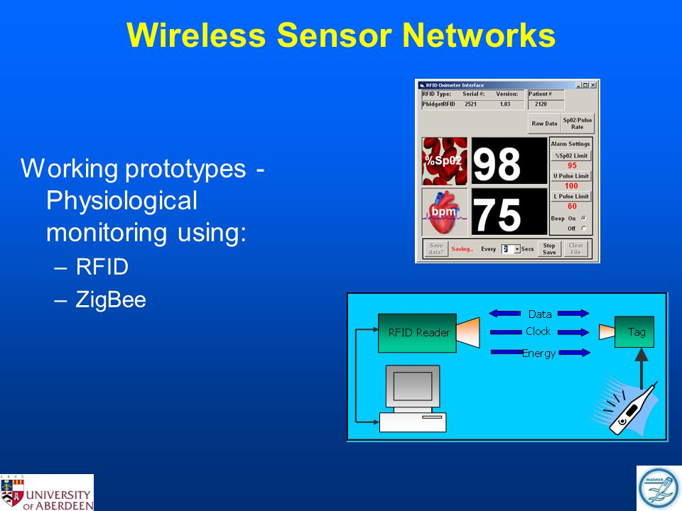 Wireless Sensor Networks Working prototypes - Physiological monitoring using: –RFID –ZigBee