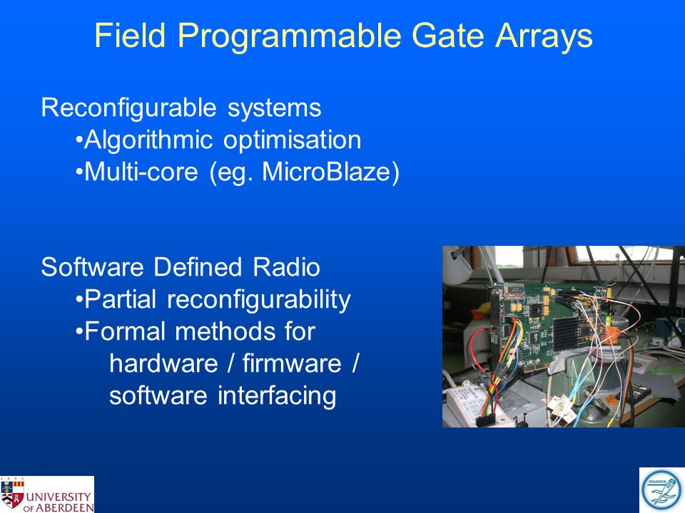 Field Programmable Gate Arrays Reconfigurable systems Algorithmic optimisation Multi-core (eg.