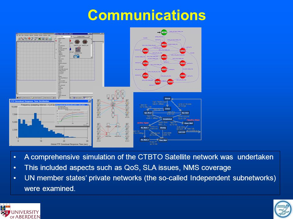 Communications A comprehensive simulation of the CTBTO Satellite network was undertaken This included aspects such as QoS, SLA issues, NMS coverage UN member states private networks (the so-called Independent subnetworks) were examined.