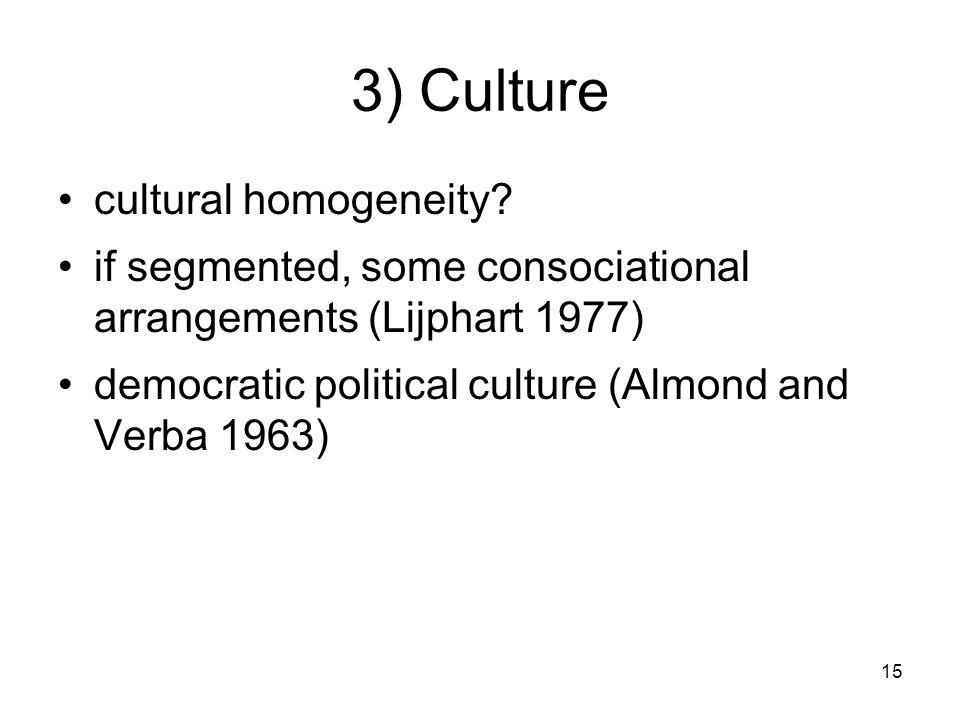 15 3) Culture cultural homogeneity.