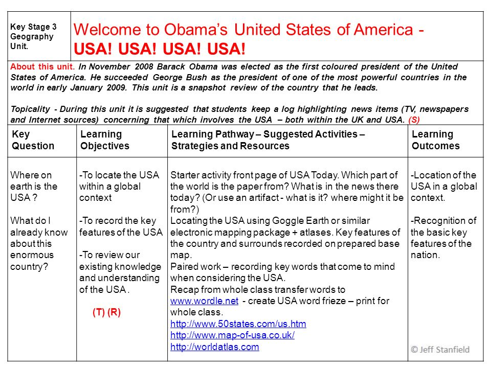 Key Stage 3 Geography Unit. Welcome to Obamas United States of America - USA.