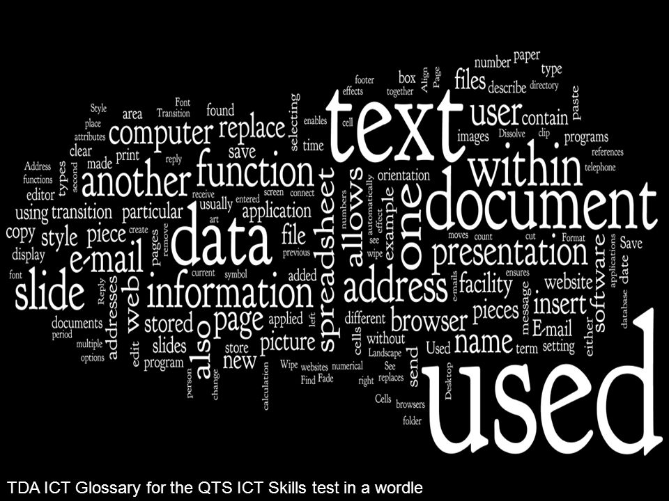 TDA ICT Glossary for the QTS ICT Skills test in a wordle