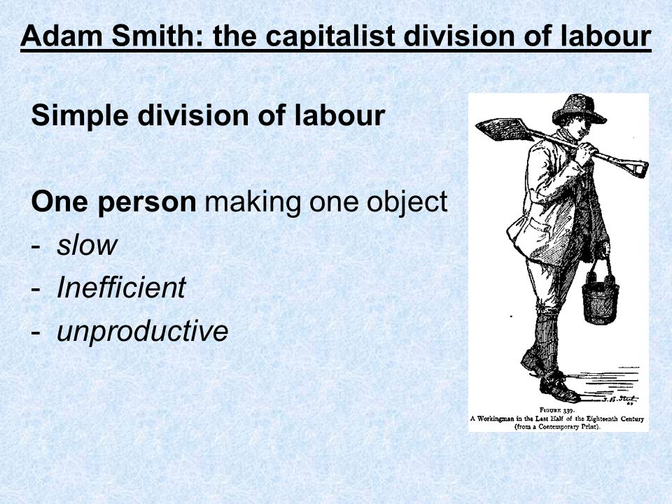 Adam Smith: the capitalist division of labour Simple division of labour One person making one object -slow -Inefficient -unproductive