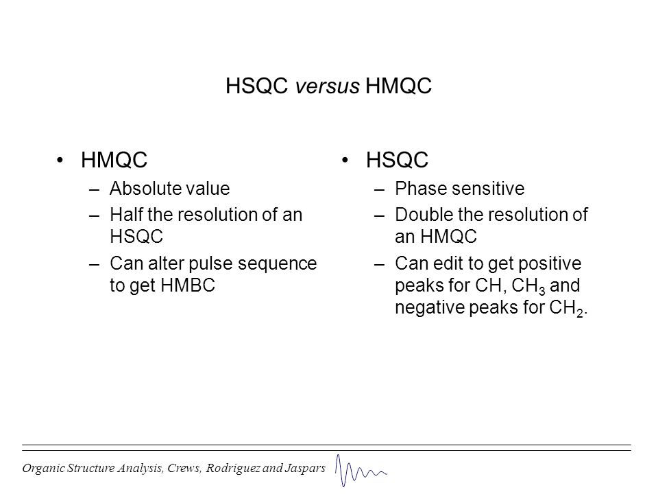 HSQC versus HMQC HMQC –Absolute value –Half the resolution of an HSQC –Can alter pulse sequence to get HMBC HSQC –Phase sensitive –Double the resoluti