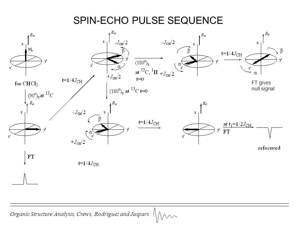 Organic Structure Analysis, Crews, Rodriguez and Jaspars SPIN-ECHO PULSE SEQUENCE FT gives null signal