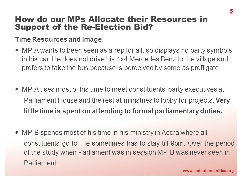 www.institutions-africa.org Time Resources and Image: MP-A wants to been seen as a rep for all, so displays no party symbols in his car. He does not d