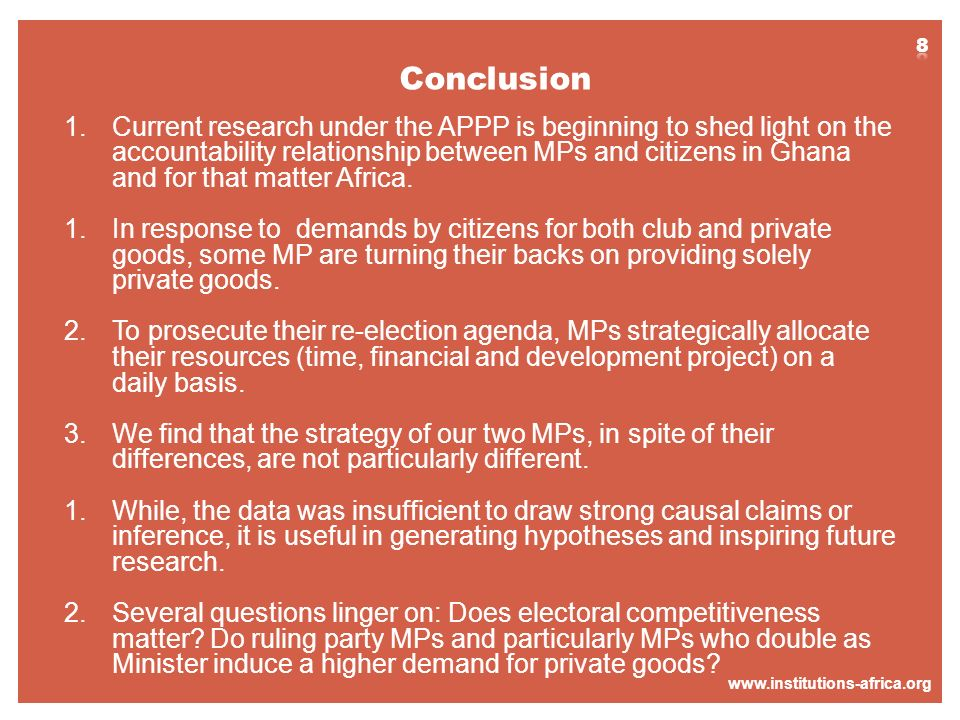 www.institutions-africa.org 1.Current research under the APPP is beginning to shed light on the accountability relationship between MPs and citizens i