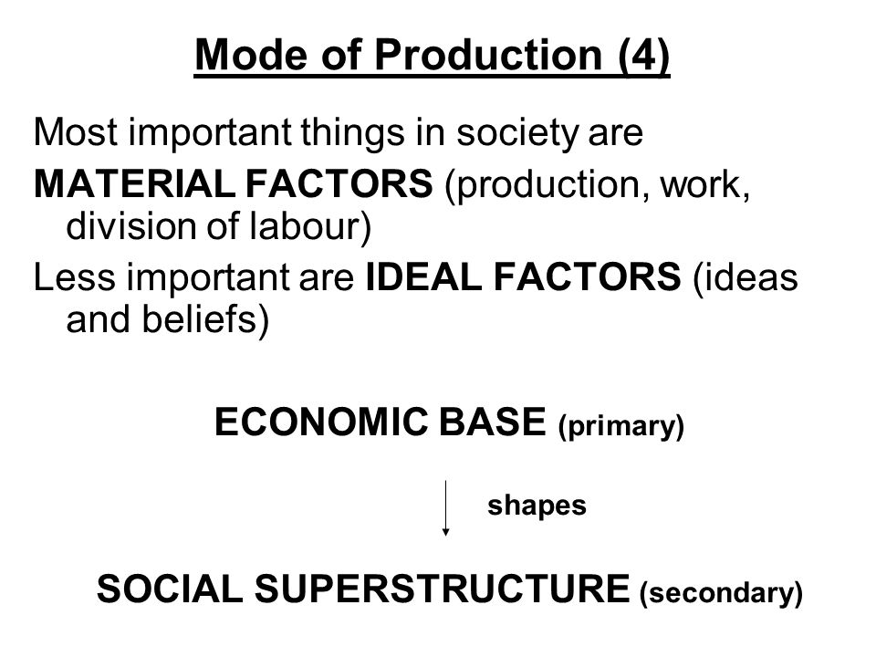 Mode of Production (4) Most important things in society are MATERIAL FACTORS (production, work, division of labour) Less important are IDEAL FACTORS (