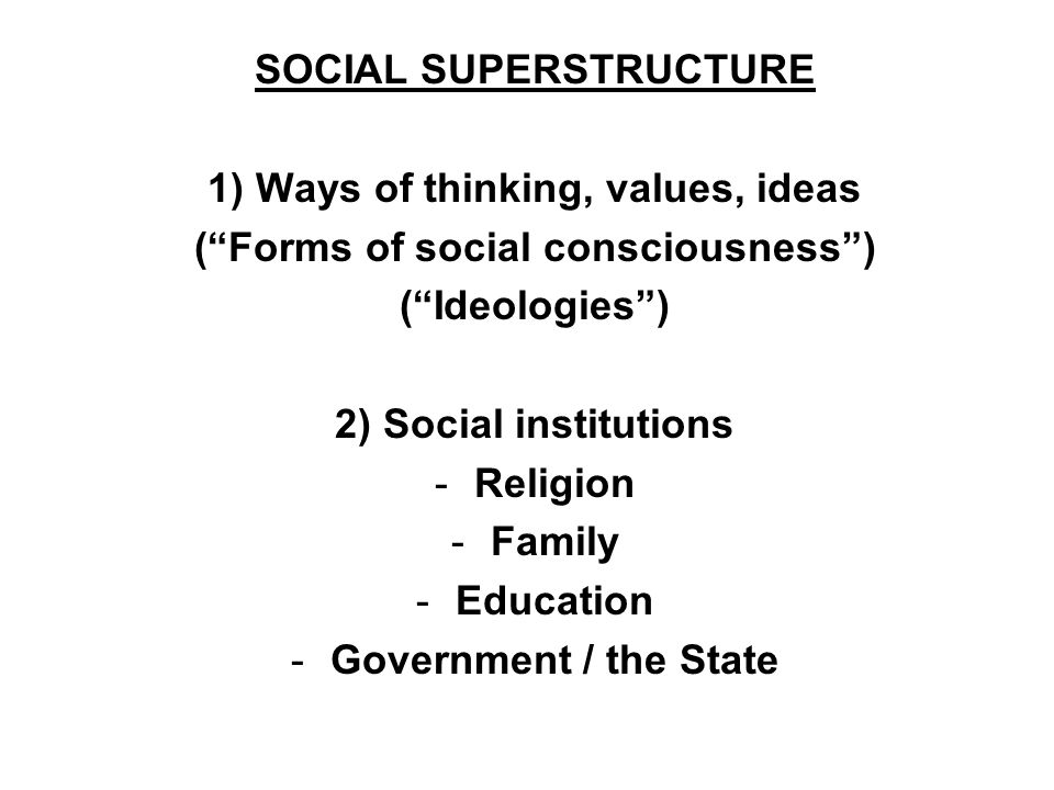 SOCIAL SUPERSTRUCTURE 1) Ways of thinking, values, ideas (Forms of social consciousness) (Ideologies) 2) Social institutions -Religion -Family -Educat