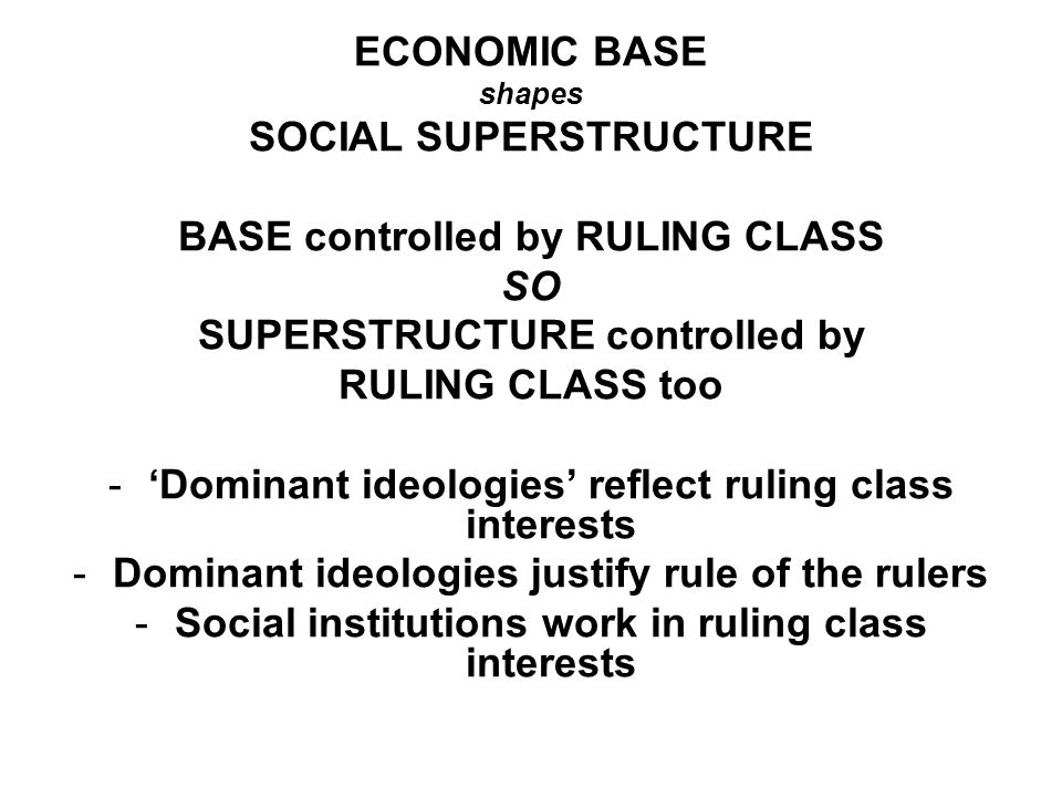 ECONOMIC BASE shapes SOCIAL SUPERSTRUCTURE BASE controlled by RULING CLASS SO SUPERSTRUCTURE controlled by RULING CLASS too -Dominant ideologies refle