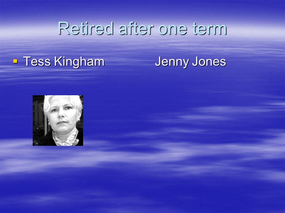 Retired after one term Tess KinghamJenny Jones Tess KinghamJenny Jones