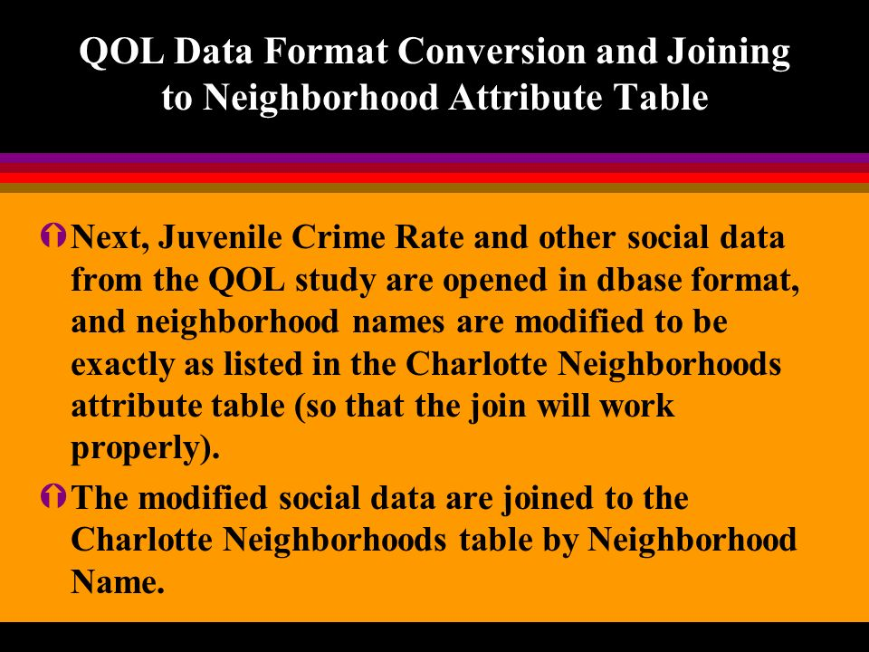 QOL Data Format Conversion and Joining to Neighborhood Attribute Table ÝNext, Juvenile Crime Rate and other social data from the QOL study are opened in dbase format, and neighborhood names are modified to be exactly as listed in the Charlotte Neighborhoods attribute table (so that the join will work properly).