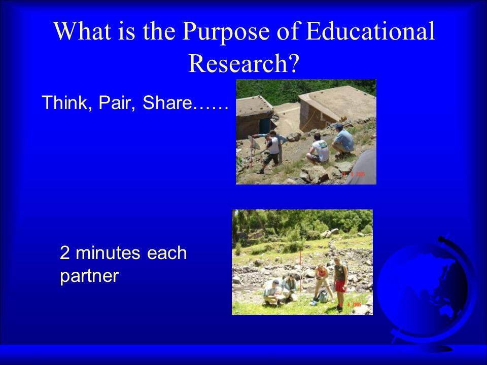 What is the Purpose of Educational Research? Think, Pair, Share…… 2 minutes each partner