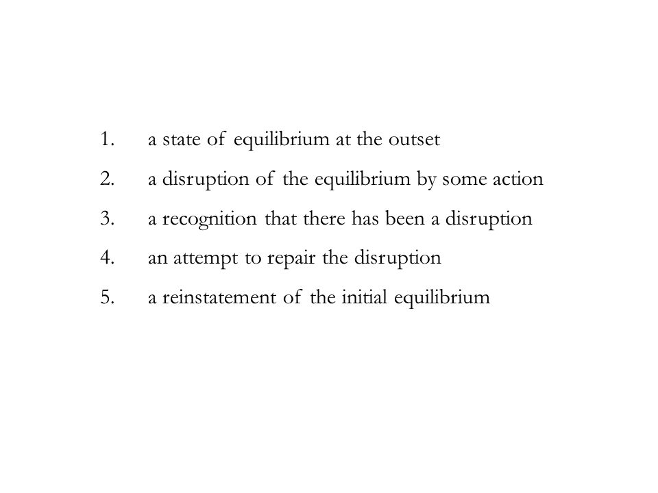 1. a state of equilibrium at the outset 2. a disruption of the equilibrium by some action 3. a recognition that there has been a disruption 4. an atte