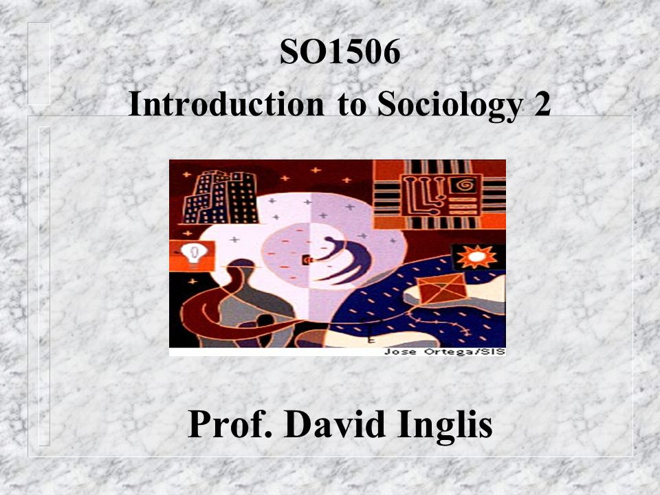 SO1506 Introduction to Sociology 2 Prof. David Inglis