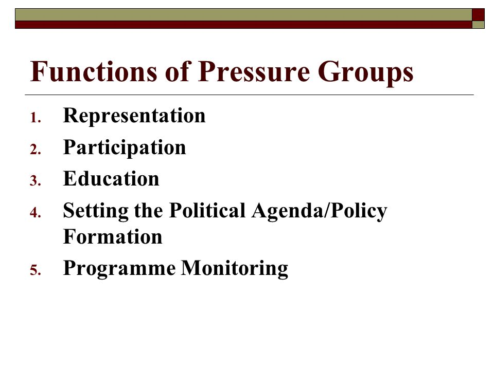 Functions of Pressure Groups 1. Representation 2.