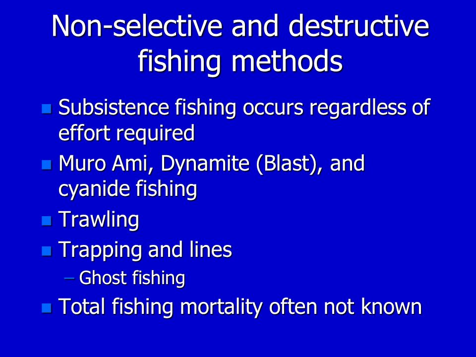 Non-selective and destructive fishing methods n Subsistence fishing occurs regardless of effort required n Muro Ami, Dynamite (Blast), and cyanide fis
