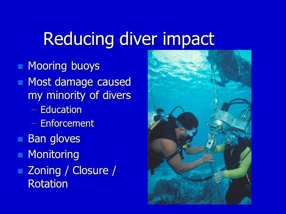 Reducing diver impact n Mooring buoys n Most damage caused my minority of divers –Education –Enforcement n Ban gloves n Monitoring n Zoning / Closure