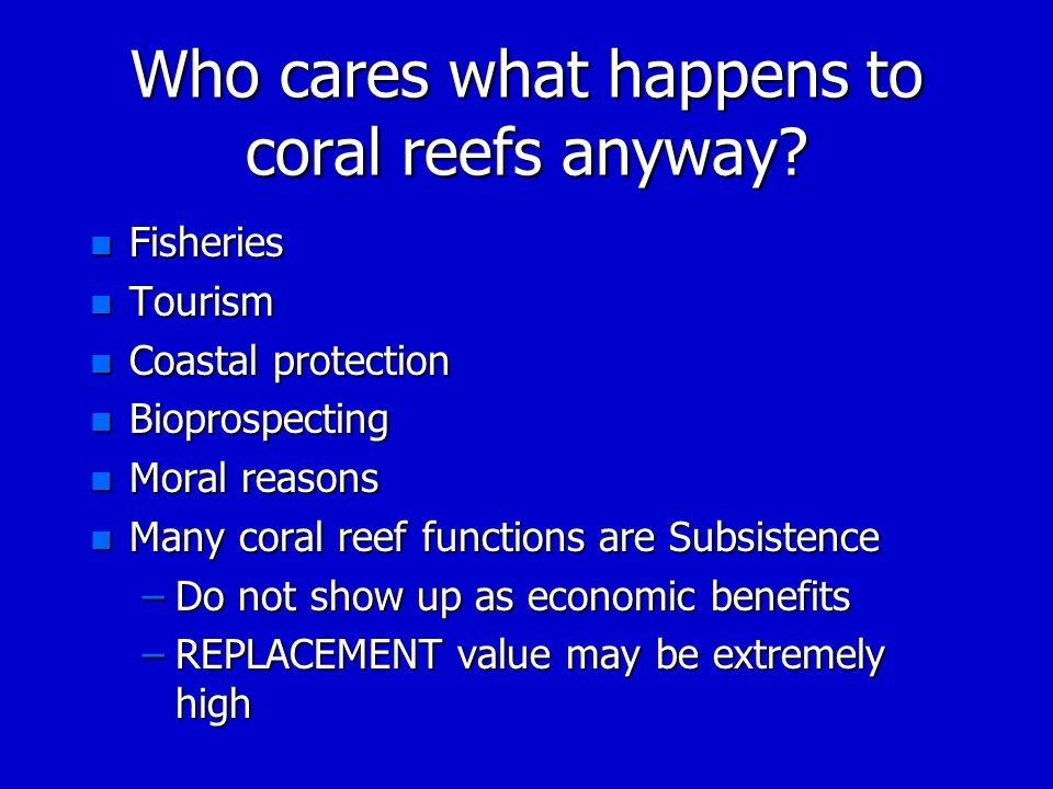 Who cares what happens to coral reefs anyway? n Fisheries n Tourism n Coastal protection n Bioprospecting n Moral reasons n Many coral reef functions
