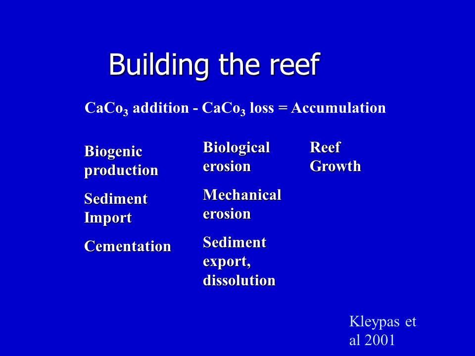 Building the reef CaCo 3 addition - CaCo 3 loss = Accumulation Biogenic production Sediment Import Cementation Biological erosion Mechanical erosion S
