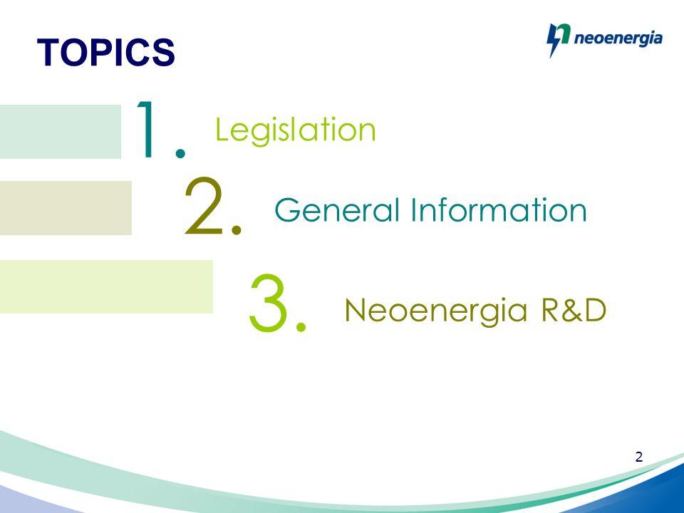 2 TOPICS 1. 2. 3. General Information Neoenergia R&D Legislation