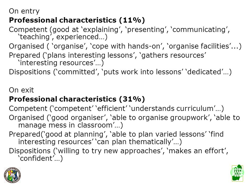 On entry Professional characteristics (11%) Competent (good at explaining, presenting, communicating, teaching, experienced…) Organised ( organise, co
