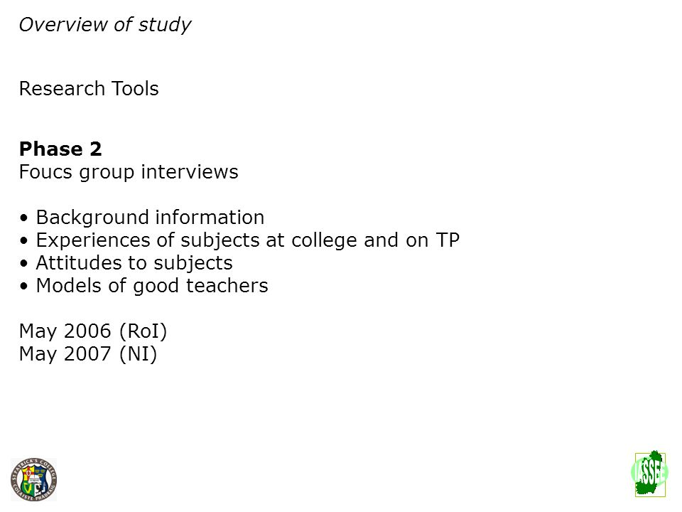 Overview of study Research Tools Phase 2 Foucs group interviews Background information Experiences of subjects at college and on TP Attitudes to subje