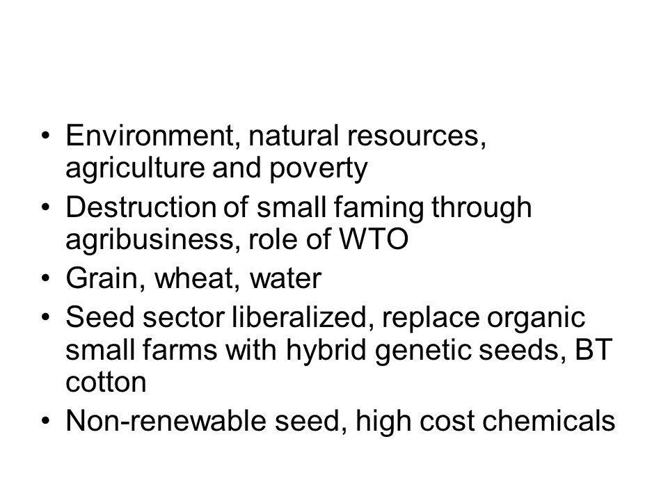 Environment, natural resources, agriculture and poverty Destruction of small faming through agribusiness, role of WTO Grain, wheat, water Seed sector liberalized, replace organic small farms with hybrid genetic seeds, BT cotton Non-renewable seed, high cost chemicals