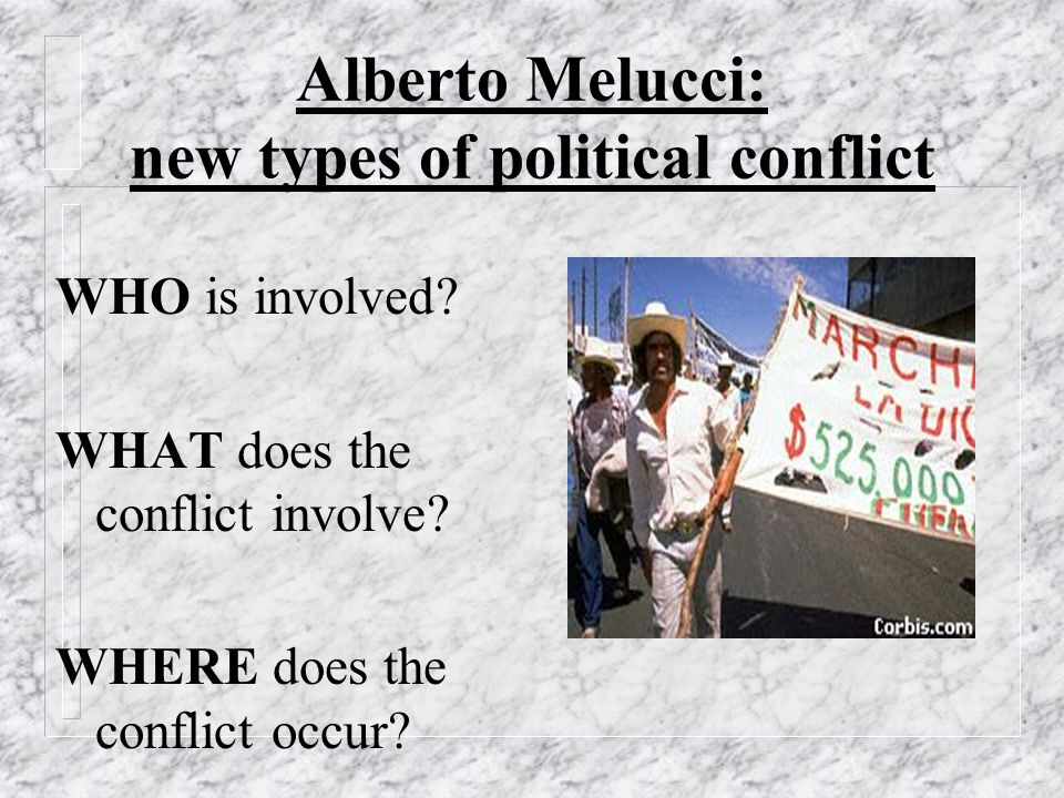 Alberto Melucci: new types of political conflict WHO is involved.