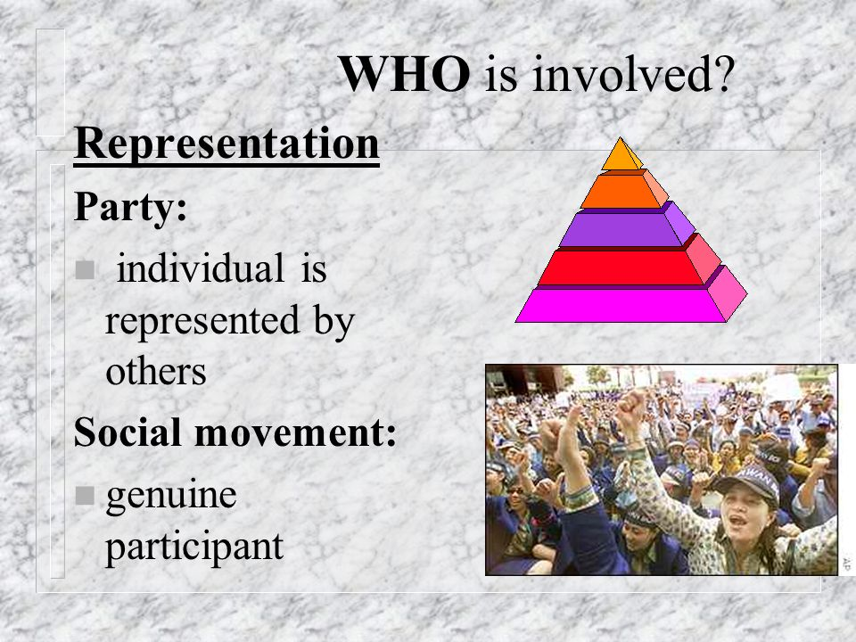 Representation Party: n individual is represented by others Social movement: n genuine participant WHO is involved?