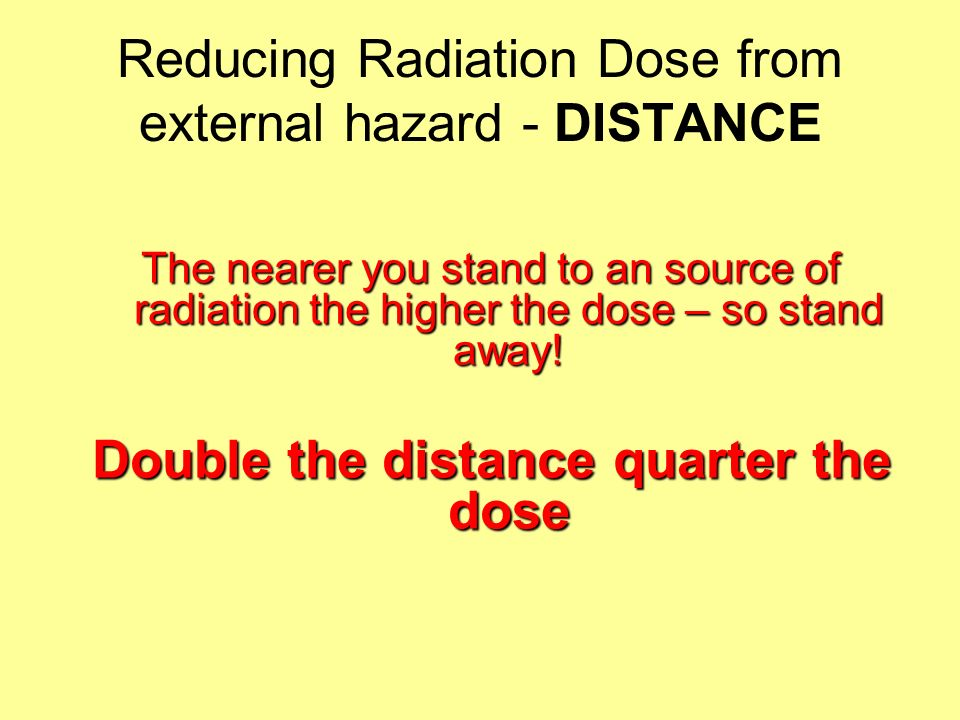 Reducing Radiation Dose from external hazard - Shielding Lead shielding can be used to attenuate X-rays Room shielding Screens Protective clothing