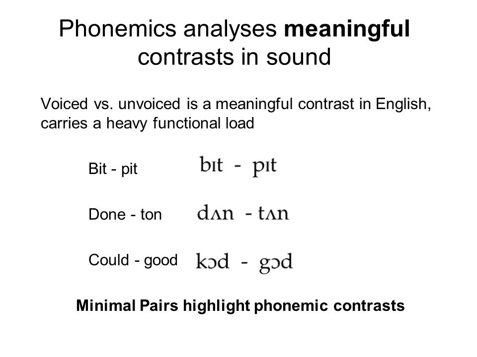 Phonemics analyses meaningful contrasts in sound Voiced vs.