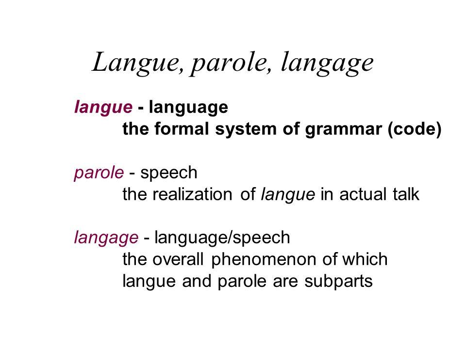 Langue, parole, langage langue - language the formal system of grammar (code) parole - speech the realization of langue in actual talk langage - langu