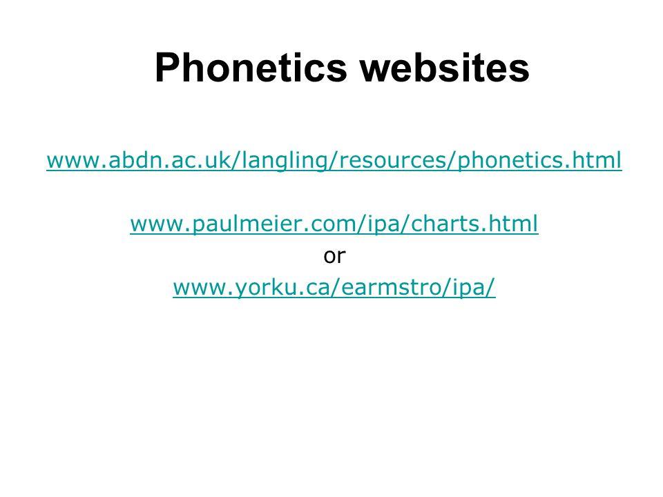Phonetics websites www.abdn.ac.uk/langling/resources/phonetics.html www.paulmeier.com/ipa/charts.html or www.yorku.ca/earmstro/ipa/