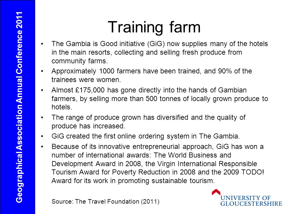 Training farm The Gambia is Good initiative (GiG) now supplies many of the hotels in the main resorts, collecting and selling fresh produce from community farms.
