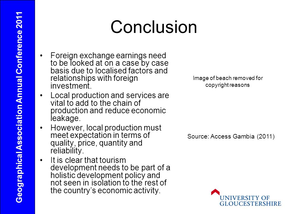 Conclusion Foreign exchange earnings need to be looked at on a case by case basis due to localised factors and relationships with foreign investment.