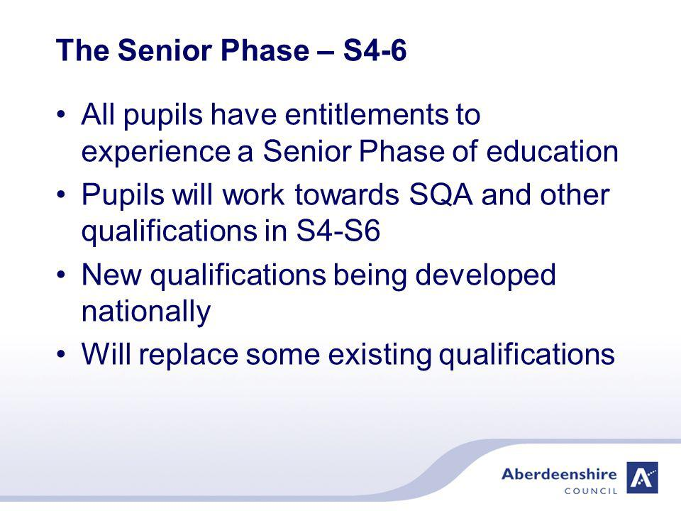 The S1-3 curriculum Learning across all the 8 curriculum areas Builds on the primary curriculum and experiences Blend of separate subjects and inter- disciplinary learning Some whole school or year group learning experiences Opportunities for wider achievement Increasing opportunities for choice and personalisation as each learner moves through the curriculum