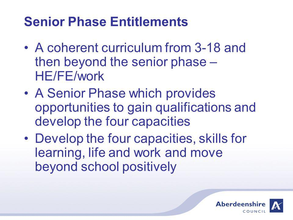 The Senior Phase – S4-6 All pupils have entitlements to experience a Senior Phase of education Pupils will work towards SQA and other qualifications in S4-S6 New qualifications being developed nationally Will replace some existing qualifications