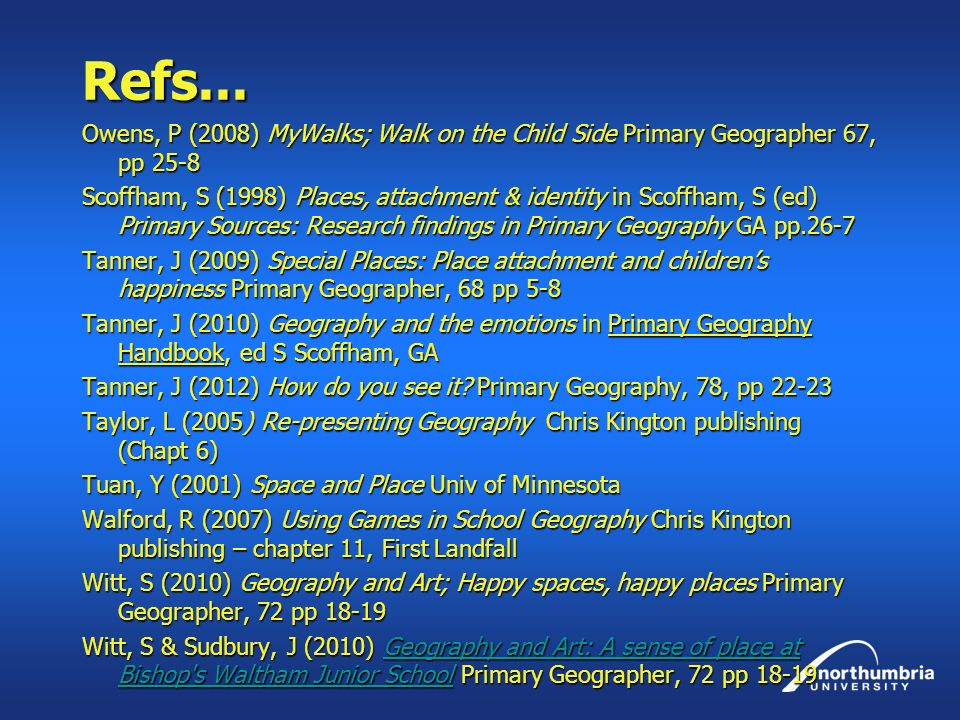 Refs... Owens, P (2008) MyWalks; Walk on the Child Side Primary Geographer 67, pp 25-8 Scoffham, S (1998) Places, attachment & identity in Scoffham, S