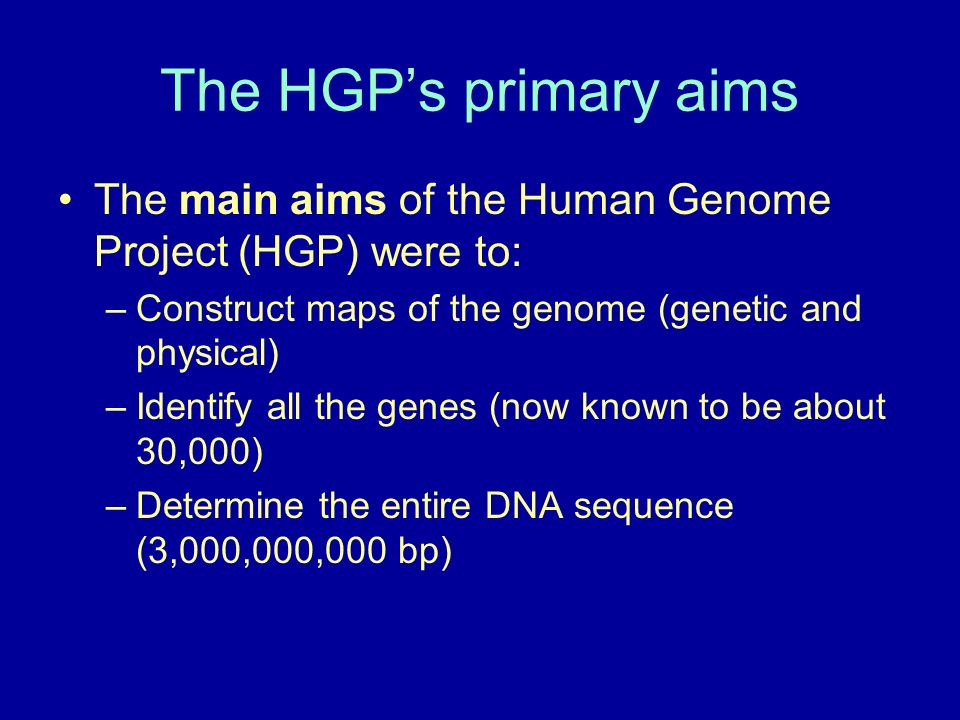 The HGPs primary aims The main aims of the Human Genome Project (HGP) were to: –Construct maps of the genome (genetic and physical) –Identify all the genes (now known to be about 30,000) –Determine the entire DNA sequence (3,000,000,000 bp)