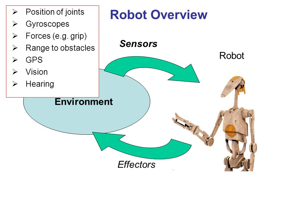 Robot Overview Position of joints Gyroscopes Forces (e.g.