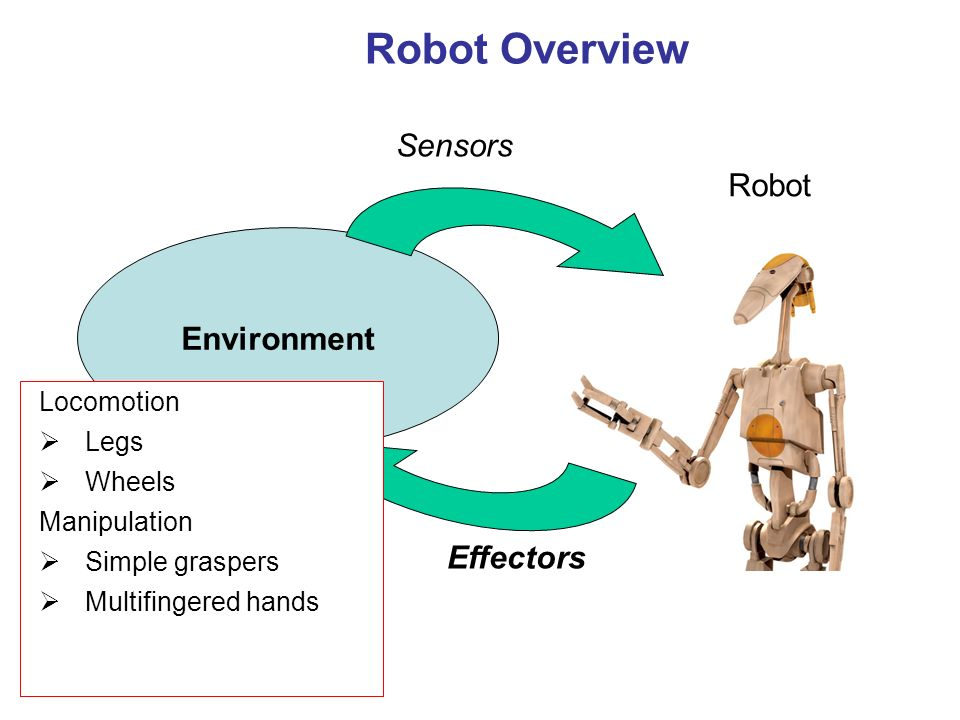 Robot Overview Robot Environment Sensors Locomotion Legs Wheels Manipulation Simple graspers Multifingered hands Effectors