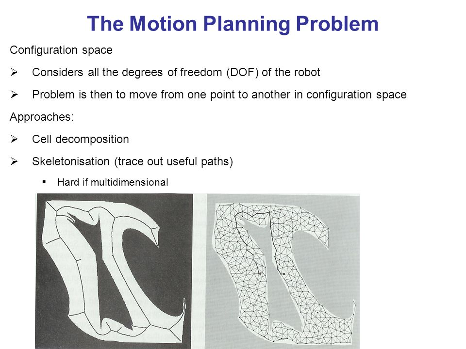 The Motion Planning Problem Configuration space Considers all the degrees of freedom (DOF) of the robot Problem is then to move from one point to another in configuration space Approaches: Cell decomposition Skeletonisation (trace out useful paths) Hard if multidimensional Hard if objects complicated