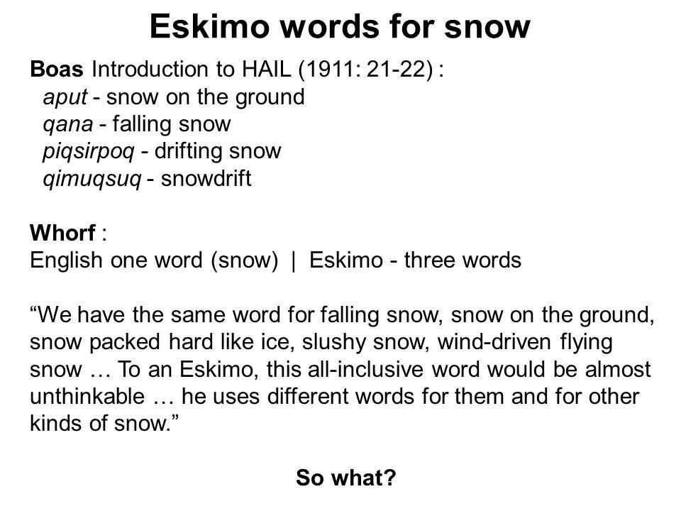 Eskimo words for snow Boas Introduction to HAIL (1911: 21-22) : aput - snow on the ground qana - falling snow piqsirpoq - drifting snow qimuqsuq - sno