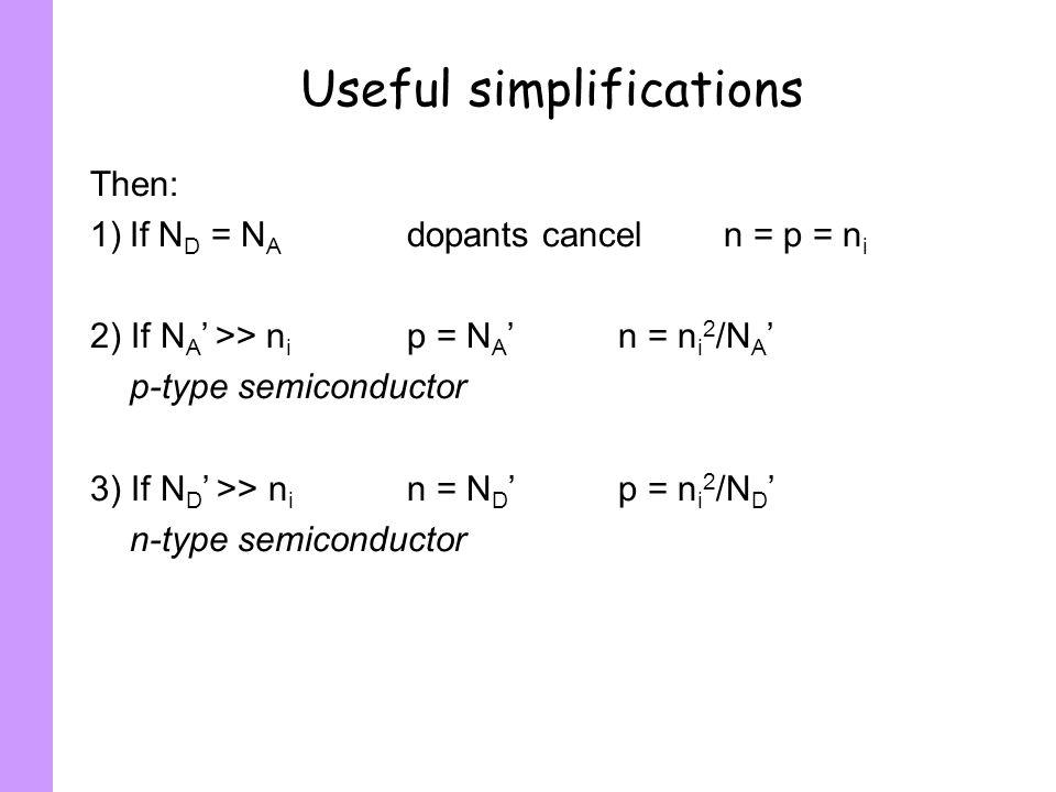 Useful simplifications Then: 1)If N D = N A dopants canceln = p = n i 2) If N A >> n i p = N An = n i 2 /N A p-type semiconductor 3) If N D >> n i n =