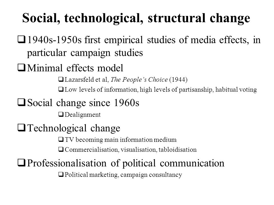 Social, technological, structural change 1940s-1950s first empirical studies of media effects, in particular campaign studies Minimal effects model Lazarsfeld et al, The Peoples Choice (1944) Low levels of information, high levels of partisanship, habitual voting Social change since 1960s Dealignment Technological change TV becoming main information medium Commercialisation, visualisation, tabloidisation Professionalisation of political communication Political marketing, campaign consultancy
