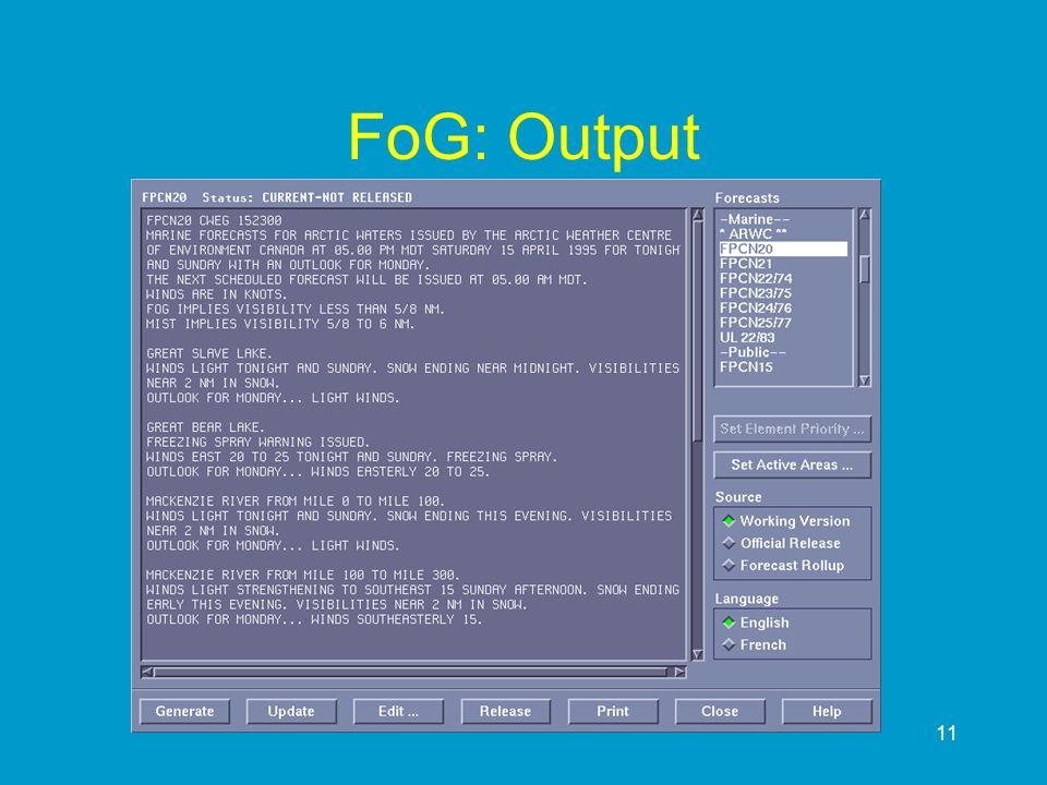 11 FoG: Output