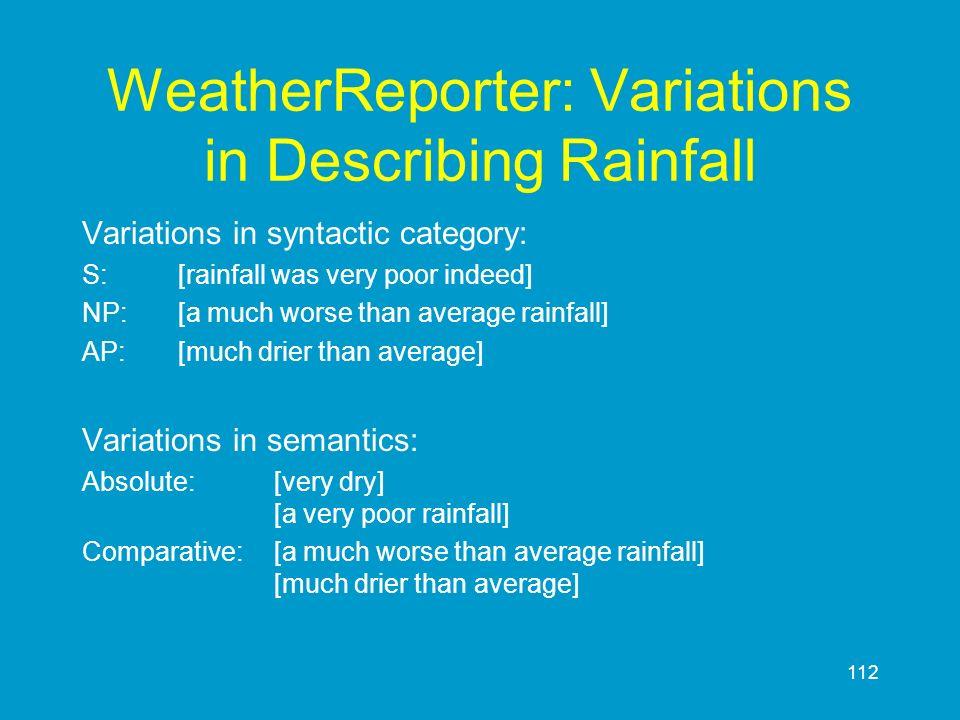 112 WeatherReporter: Variations in Describing Rainfall Variations in syntactic category: S:[rainfall was very poor indeed] NP:[a much worse than avera